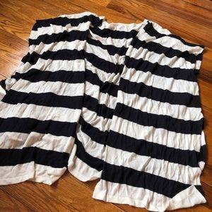 Sweaters - Navy White Striped Poncho Wrap Cardigan Flowy